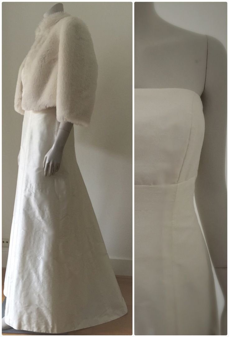 Simple and chic wedding dress and fake fur coat.