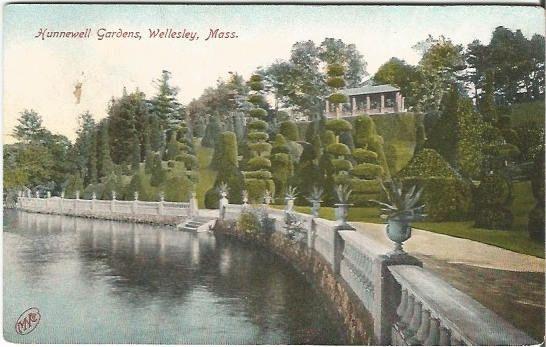 Hunnwell Gardens, Wellesley Massachusetts Vintage Postcard Historical Site The Metropolitan News Co by postcardsintheattic on Etsy