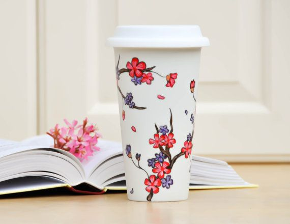 Pink Purple Cherry Blossoms Ceramic Travel mug - Made to Order Hand Painted sakura eco-cup -  Valentine's  Day Gift Commuter cup with lid on Etsy, $40.00
