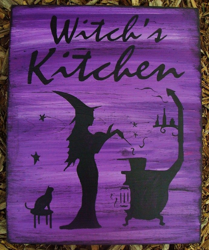 Purple Witches Kitchen Witch Sign Witchcraft Folk Art Halloween Witches halloween decorations Hearth Pagan Wiccan Magic by SleepyHollowPrims, $27.00 USD