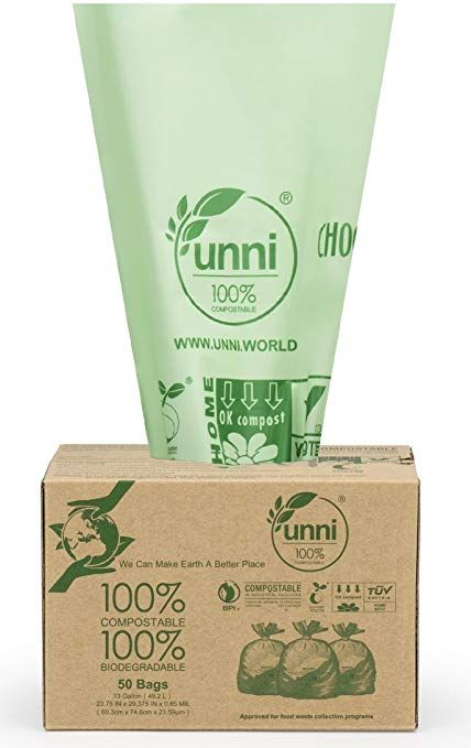 7150ccbde Amazon.com: UNNI ASTM D6400 100% Compostable Bags, 13 Gallon, 50 Count,  Heavy Duty 0.85 Mils, Tall Kitchen Trash Bags, Food Scrap Yard Waste Bag,US  BPI ...