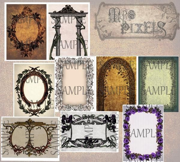 Arbor and frame designs, floral and botanical theme embellished, highlight altered art creations with delicately dark, rustic borders on textured backgrounds. #DigitalDownloads #Frames #Botanical #Floral #ATCCollageElements