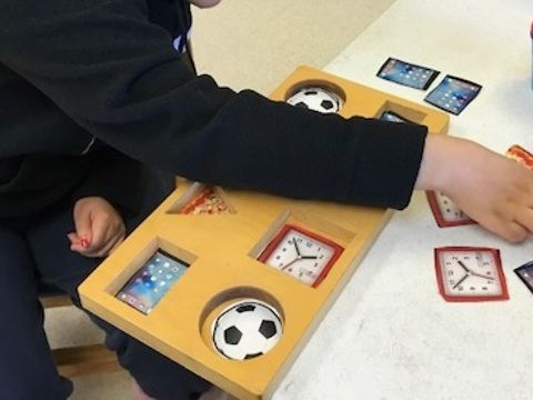 """Form boards are designed for young children to learn how to fit shapes into corresponding openings. My older clients with developmental disabilities are also working on these skills. However, this form board is made with meaningful, age-appropriate pictures that I printed and laminated.brLearn more about activity adaptations at a href=""""http://www.RecyclingOT.com"""" rel=nofollow target=_blankhttp://www.RecyclingOT.com/a"""