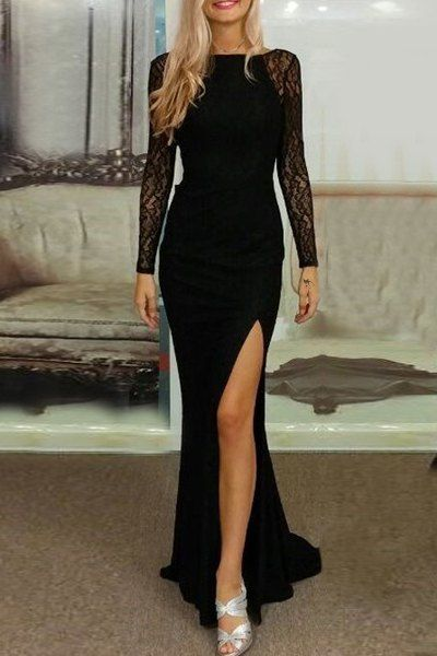 Elegant Slash Neck Long Sleeve Lace Splicing High Slit Black Dress For Women