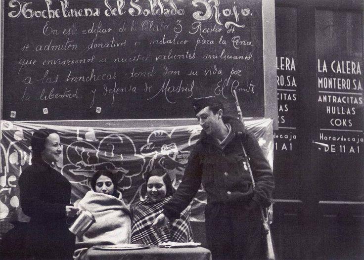 Frente de Madrid, colecta para la cena de Nochebuena de los Milicianos.