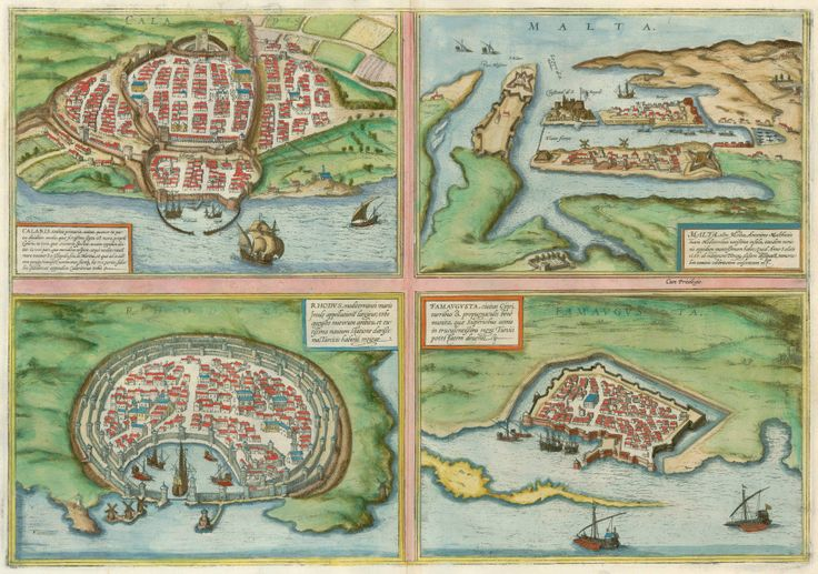 Antique map with views of Cagliari, Malta, Rhodos and Famagusta | Sanderus Antique Maps