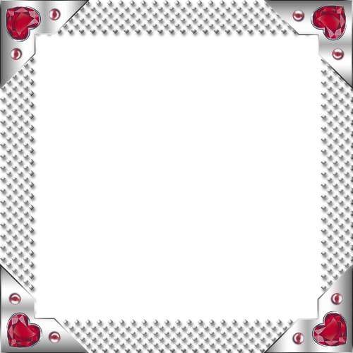 Квадратные Серебряная квадратная рамка с красными скрдечками в углах рамки
