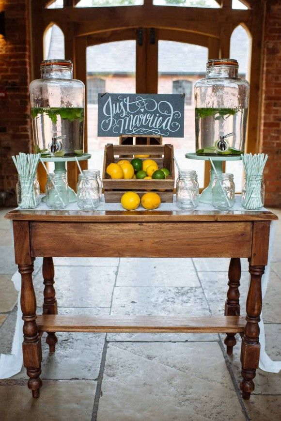 All In The Detail: The Wedding of My Dreams. Rustic wedding decor. Drinks station.  Image by Daffodil Waves Photography.  Read more: http://bridesupnorth.com/2016/05/12/all-in-the-detail-the-wedding-of-my-dreams/