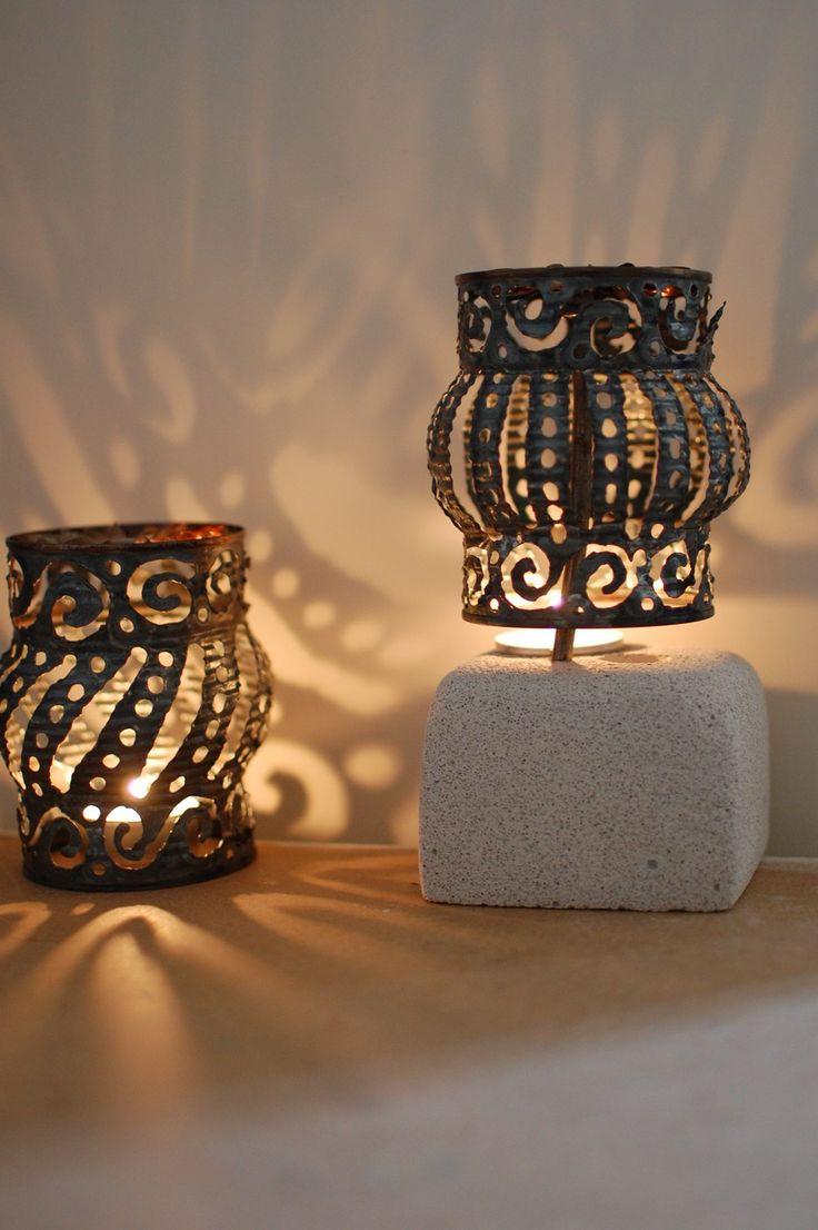 Pierced cans = groovy garden lights: Candles Decor, Crafts Ideas, Modern Interiors Decor, Teas Lights, Modern Interior Decorating, Tin Cans, Tables Lamps, Tins Cans Lanterns, Tins Cans Crafts