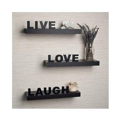 Floating Wall Shelves Decor Shelf Inspirational Mount Live Laugh Love Wood Black