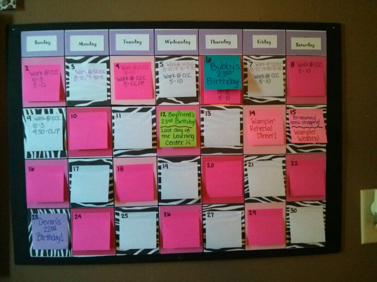 Calendar Poster Maker : Hand made post it calendar use cardboard poster board and
