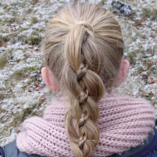 First ever four strand braid #fourstrandbraid #braids #ponytail #hairforlittlegirls # winter #girlyhair #braidymom