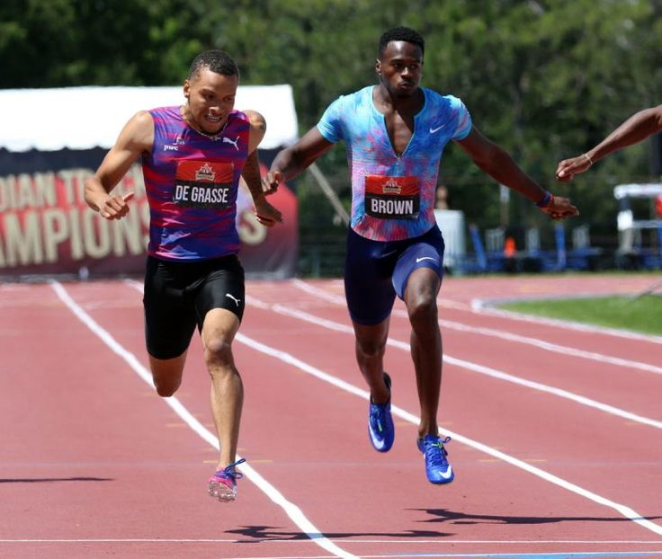 Andre De Grasse captures second title at Canadian track championship, winning 200-metre race The triple medallist from last summer's Rio Olympics raced to his first Canadian 200-metre title on Sunday.  Andre De Grasse, left, takes the lead to the finish line beating Aaron Brown, right, to win gold in men's 200-metre race at the Canadian Track and Field Championships in Ottawa. July 9, 2017