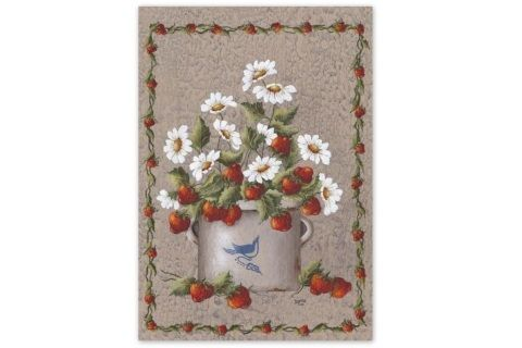 "A durable outdoor garden flag featuring a crock filled with strawberries and daisies.  measures 12"" x 18"""