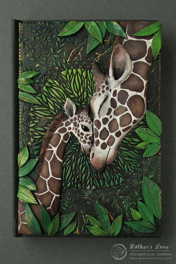Mother's Love Giraffe Polymer clay journal by por MyMandarinDucky