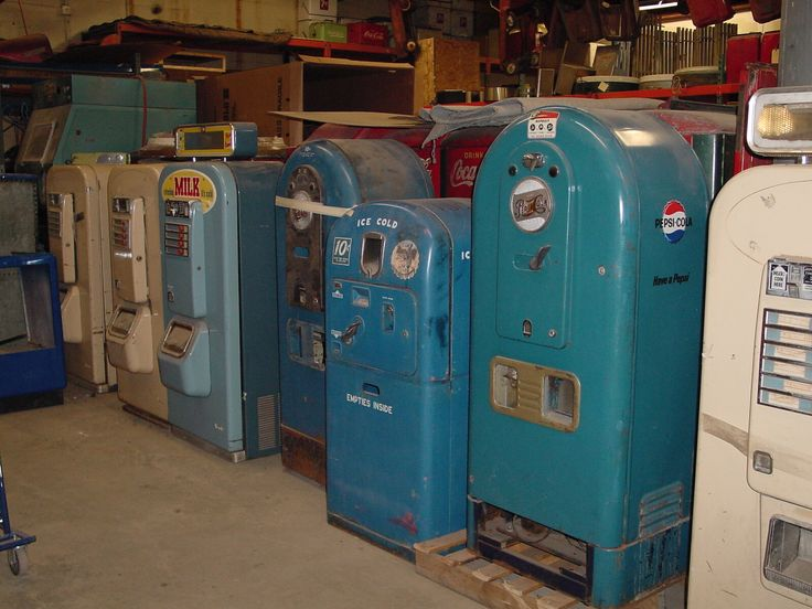 The Old Vintage Vending Warehouse - vintagevending.com. There are two Jacob's 56 Pepsi Light-Ups, arguably the most rare Pepsi machine ever. It also shows three rare Vendo Milk Machines and the super-rare Vendo Hot Foods Machine. Tucked in between is a VMC Pepsi 27 and behind them all and a little hard to see, are a bunch of Coca-Cola Mills soda machines.