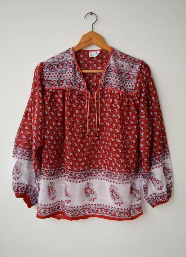 Vintage Indian Hippie Boho Festival Cotton Peasant Blouse Top 12 Fits XS/S