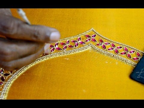 ecac2a5623404 Making of simple Double line kundan work - Maggam work making video -  YouTube