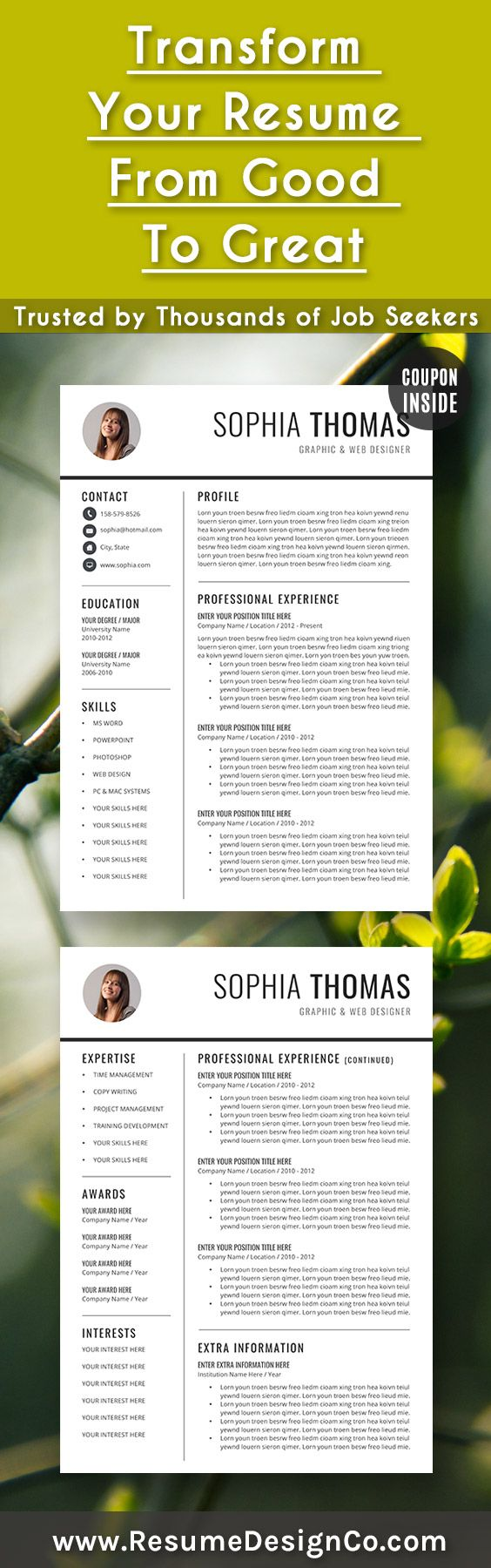 transform your resume from good to great trusted by thousands of job seekers resumedesignco cv templates wordresume - Best Resume Templates Word