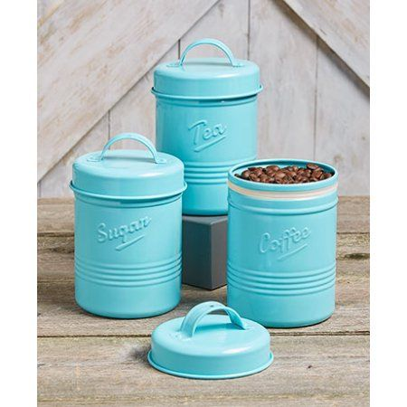 Set of 3 Metal Tea Sugar Coffee Country Antiqued Style Kitchen Food Storage Canister Crock (blue) - Walmart.com