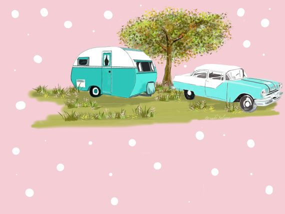 Exclusive Fabric Pink Glamping RV Travel Trailer Polka Dots Vintage Car