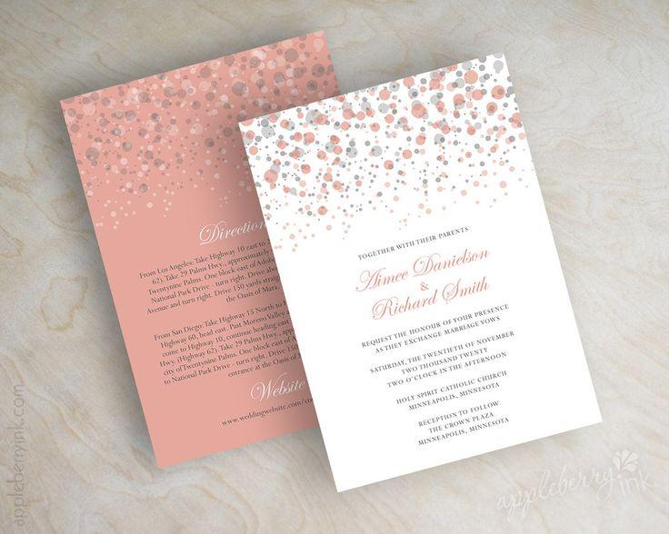 Coral And Gray Polka Dot Wedding Invitation Modern Confetti Glitter