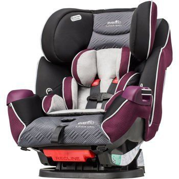 Evenflo Platinum Symphony LX All-In-One Convertible Car Seat - Josefina. Removable Seat Pad, LATCH Compatiblity, Reclining Seat. Adjustable Harness, Infinite Slide Harness, Integrated Cup Holders, Buckle Closure, Removable Head Support. 5-Point Harness, LATCH Equipped Car Seat. Rear-facing for infants, and when ready, converts to forward-facing. Minimum Weight: 22 Lb., Maximum Weight: 65 Lb.