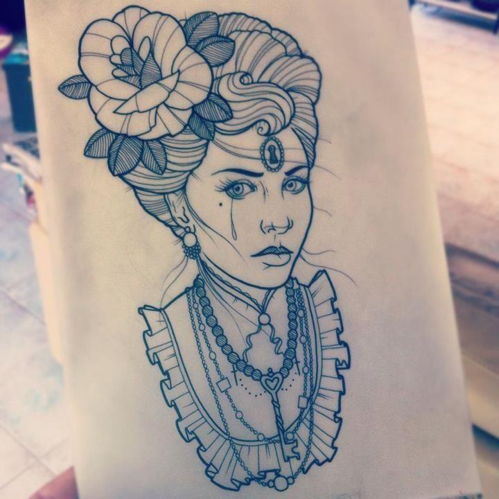 Victorian Woman Tattoo by Drew Shallis