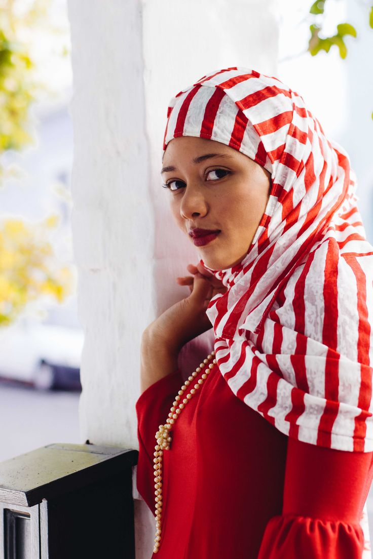 Red Hooded Hijab