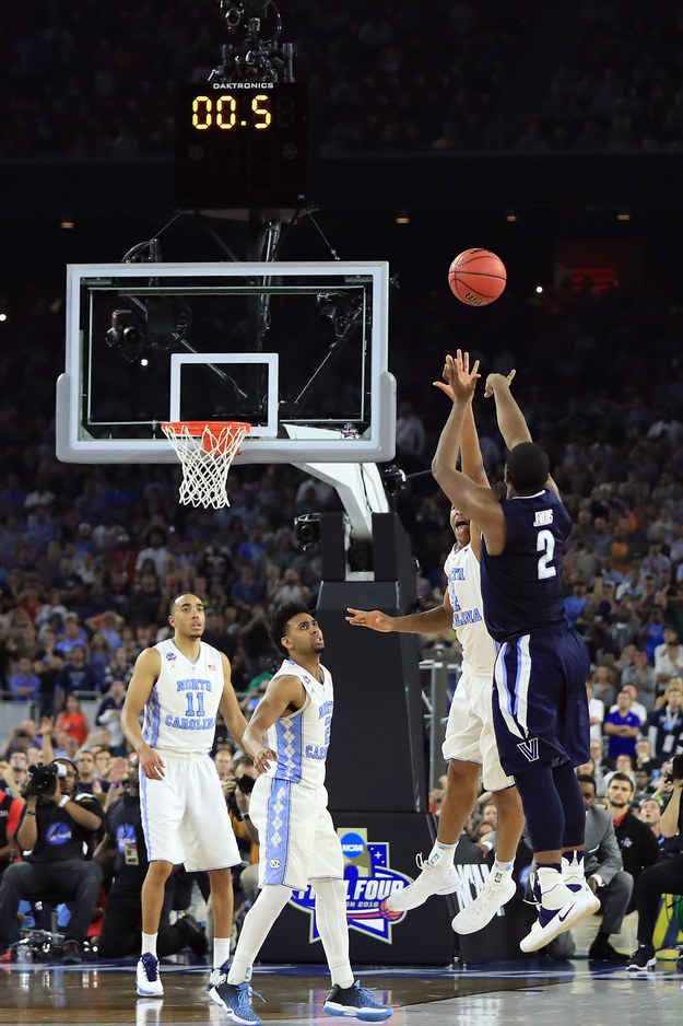 The Villanova Wildcats defeated the North Carolina Tar Heels 77-74 Monday night in a stunning buzzer-beater, capturing the team's first NCAA championship title in 31 years.