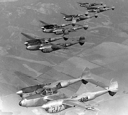 P-38L Lightning aircraft flying in formation during Lockheed test pilot Milo Burcham's funeral southern California United States 25 February 1945.
