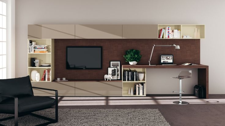 TV Wohnwand modern Wandregale