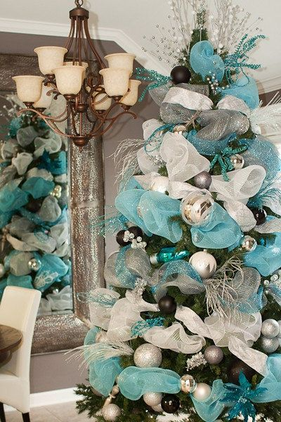 Christmas Blue Ribbon Tulle Garland Decoration Shabby Chic Xmas Feather Tree Centerpiece Home Vintage Style Decor