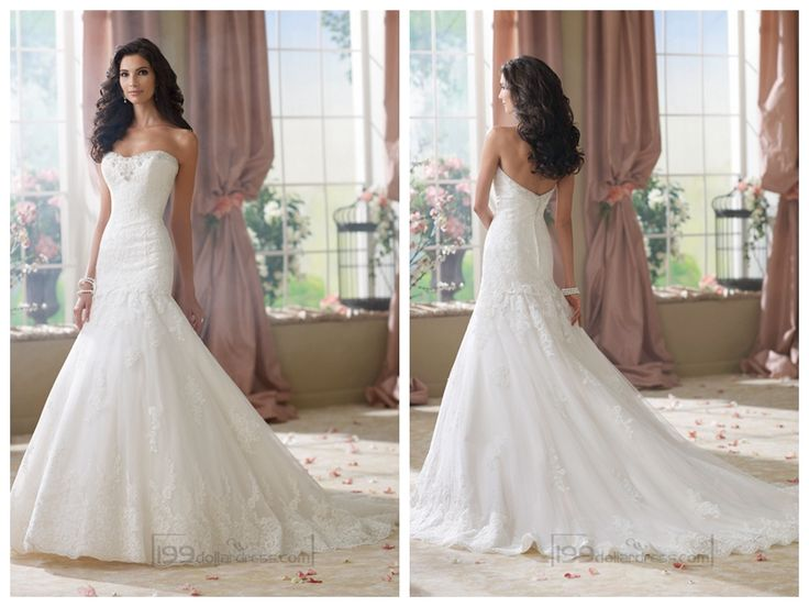 Strapless A-line Softly Curved Neckline Lace Mermaid Wedding Dresses