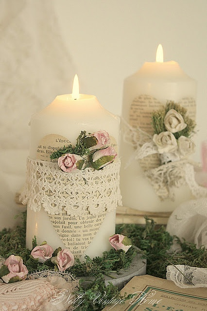 Very pretty and simple way to embellish a plain candle - shabby chic, cottage, vintage, white pillar candle, newspaper heart (or book page with music, poetry) wide lace or tied lace ribbon / bow, tuck in tiny silk pink and white roses