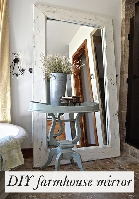 Easily transform old wood into this stylish DIY farmhouse floor mirror for your living room decor.