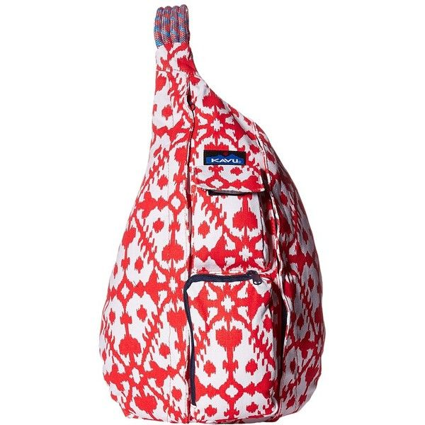 KAVU Rope Bag (Hot Blot) Backpack Bags ($50) ❤ liked on Polyvore featuring bags, backpacks, one strap backpack, kavu, padded messenger bag, padded backpack and vertical messenger bag