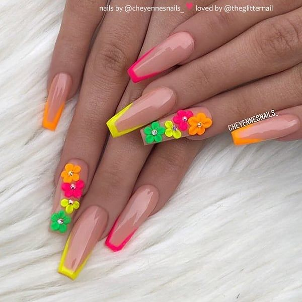 Theglitternail Get Inspired On Instagram Neon French With