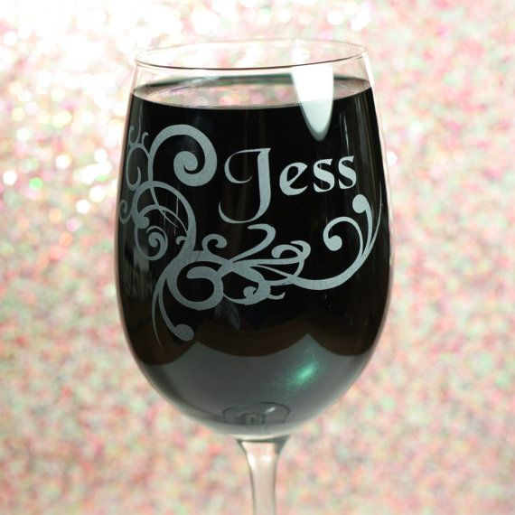 Personalized Etched Wine Glass with Swirl by GlassBlastedArt, $18.00