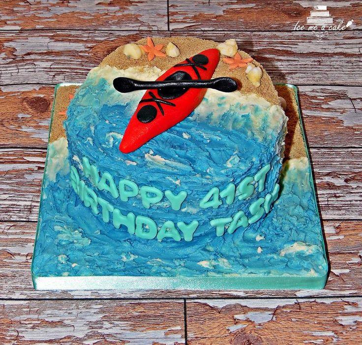 Buttercream kayak cake