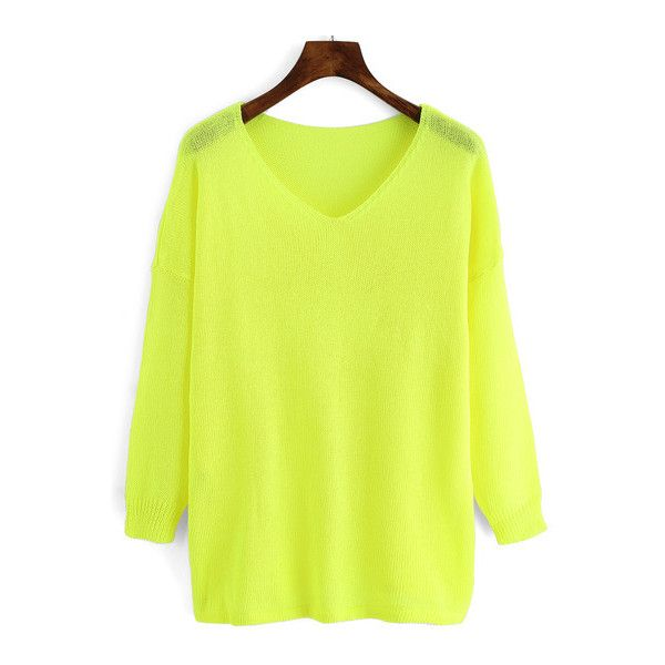 SheIn(sheinside) Neon Yellow V Neck Loose Knitwear ($19) ❤ liked on Polyvore featuring tops, sweaters, yellow, yellow v neck sweater, sweater pullover, loose pullover sweater, neon yellow top and acrylic v neck sweater