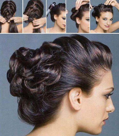 Как сделать прическу пучок на средние волосы, фото