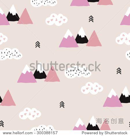 无缝柔软的粉色冬季仙境三角形几何日本富士山主题说明抽象的景观背景