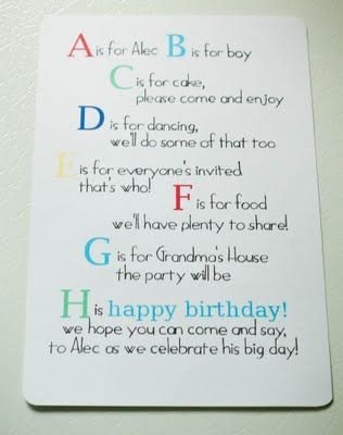ABC 1st Birthday Party Invitation