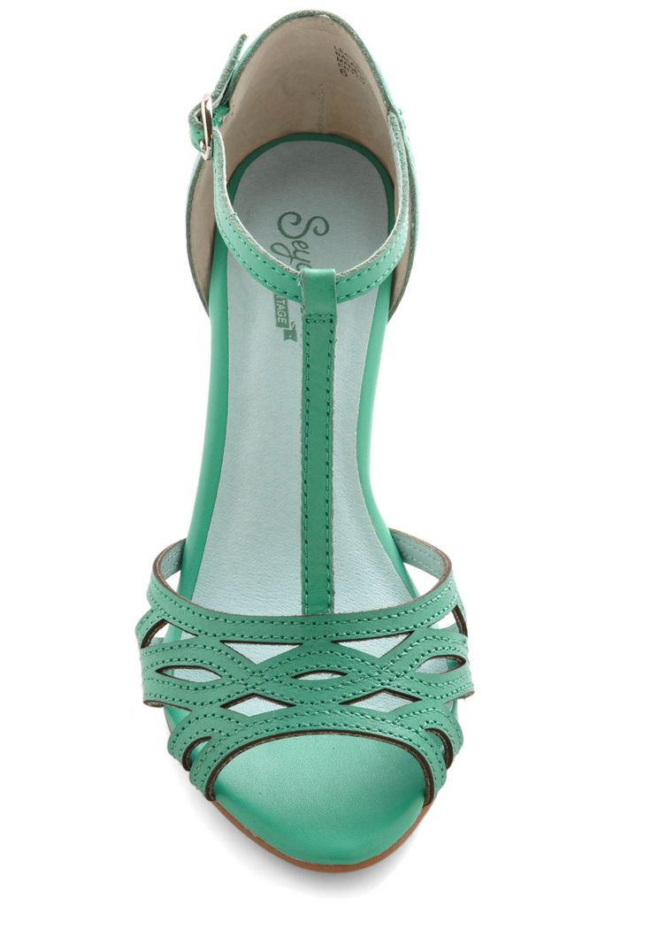 Everybody Dance Heel in Aqua. When you two-step into the room wearing these aqua heels by Seychelles, you wont even have to suggest it - all the gals will break out in a groove after spotting these T-straps. - $90