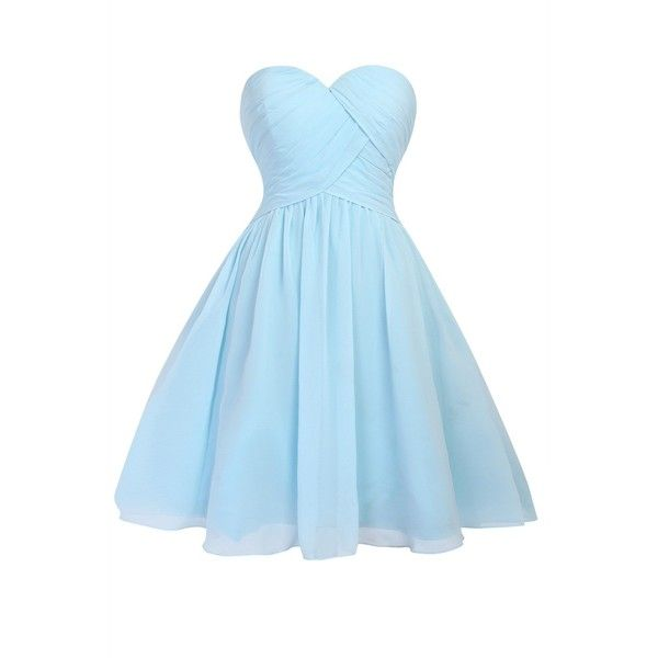 Queenmore Women s Chiffon Sweetheart Ruched Short Prom Party... ($100) ❤ liked on Polyvore featuring dresses, blue, party dresses, bridesmaid dresses, short prom dresses, cocktail party dress and blue chiffon dress