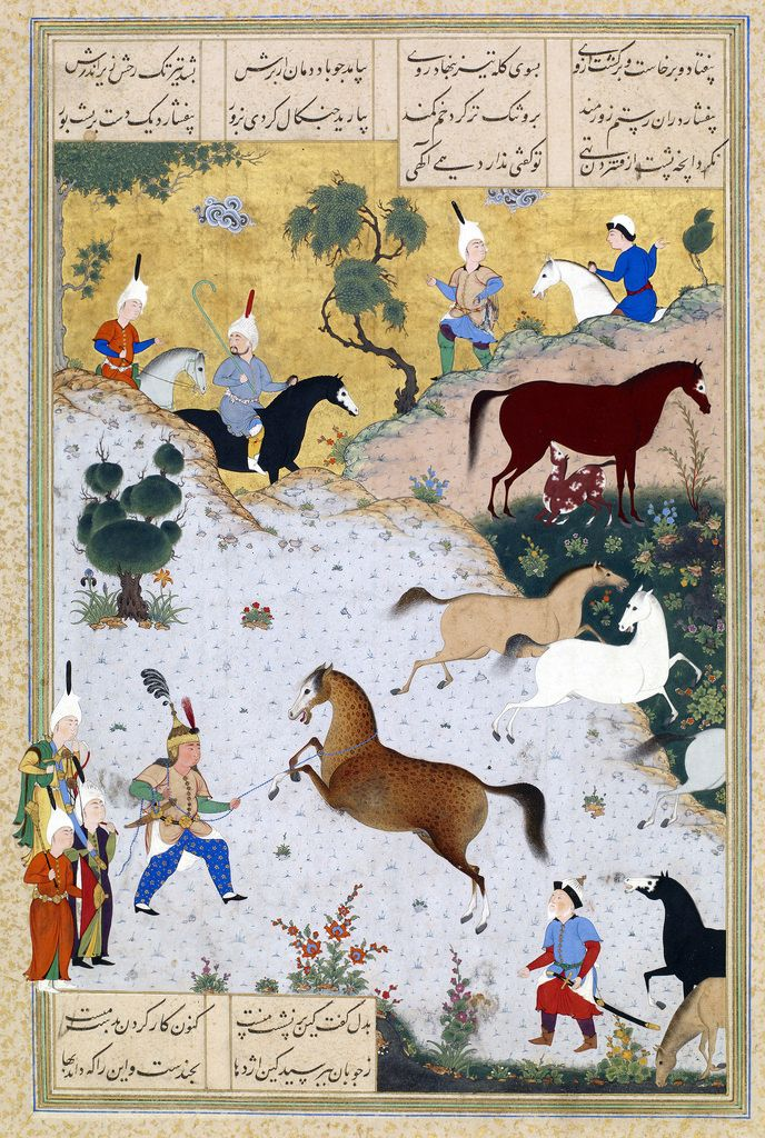 "Rustam Lassos Rakhsh (Abu'l Qasim Firdausi (935–1020 CE Persian): Shahnama (""Book of Kings"") (c. 16-18th Century CE (?) Islamic Safavid (?) Miniature Painting))"