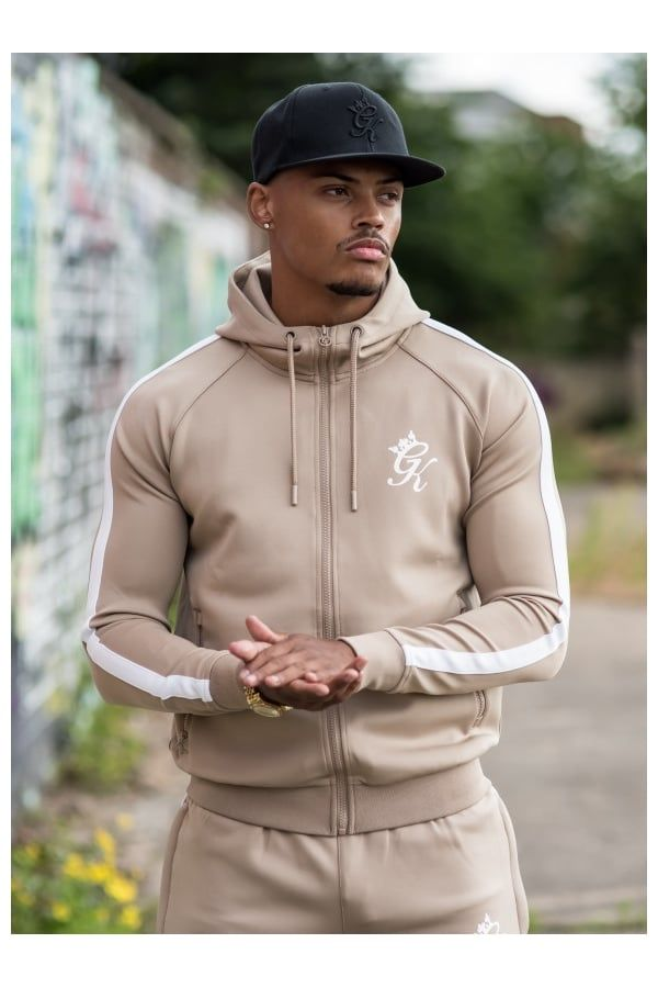 Gym King Tapered Poly Tracksuit Top - Sand