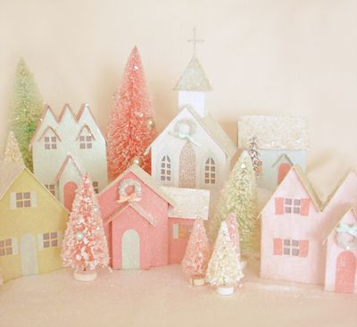 christmas village envy: Putz House, Pink Christmas, Pastel Christmas, Glitter House, Cereal Boxes, Christmas Villages, Christmasvillage, Paper House, Crafts