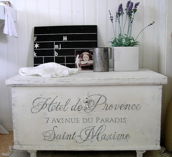 Old French writing makes an old chest alot nicer.  I have a cedar chest to re-do and definitely liking this!